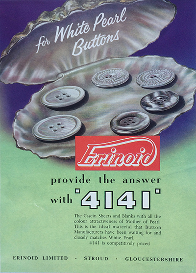 Advert for Casein buttons from 1958 issue of British Buttons