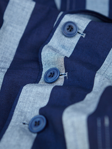 Courtney & Co. Cornbury 965 - 008 Blue coroz buttons on Nigel Cabourn striped linen shirt