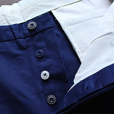 Courtney & Co. Cornbury 965 - Grey 001, Blue 104 & Natural corozo buttons on Trickett England trouser fly