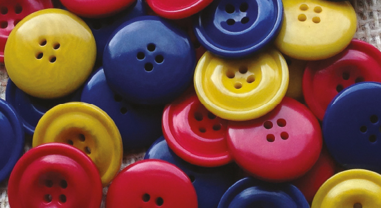 Red, yellow and blue Cornbury corozo buttons